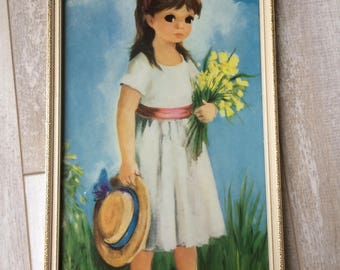Vintage Big Eye Dallas Simpson Framed print of Little Girl holding Daffodils