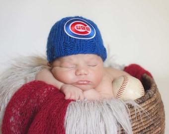 Chicago Cubs Newborn Hat, Chicago Cubs Baby Hat, Chicago Cubs Newborn Beanie, Great Baby Photo Prop