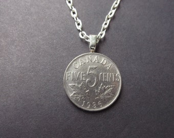 Five Cent Canada Coin Necklace -Vintage 1936 Canada Coin Pendant with Bail and Chain Maple Leaves