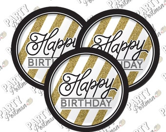 Black and Gold Happy Birthday Paper Plates