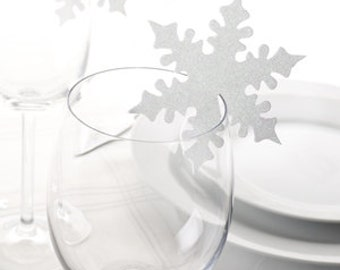 Snowflake Glass Cup Place Cards