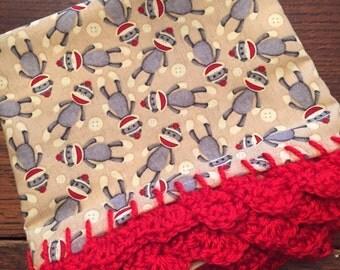Sock Monkey Crocheted Edge Pillowcase