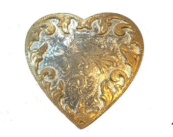 Vintage Gold and Silver Heart Belt Buckle - Engraved - Cowgirl -  Gift idea for women her - Girls - Rose