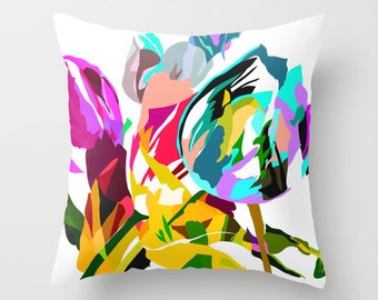 Outdoor Pillow Cover, Tulip Pillow Cover 18x18, 20x20,  Decorative Flower Pillow Cover, Throw Pillow Covers