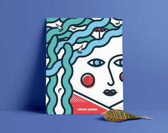 Endless Summer, Pop Art, Summer, Girl, Sea, Colour, illustration, Wall Art, Home Decor, Poster, 40 x 50cm, Geometric