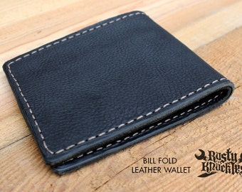 Best Handmade Black Mens Leather Wallet, Made In USA, Bifold, Quality, Made By Hand, Money, Perfect
