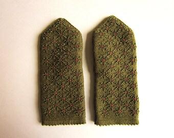 Winter Mittens Double Wool Mittens Hand Knit Mittens Fingerlesss Mittens Warm Mittens Women Mittens Handmade Mittens