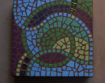 """Organic abstract mosaic, Save on a set of 4, OAK, exterior garden stepping stone,12"""" square, exterior tile and glass, Made to Order"""