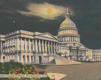 1950 Vintage Linen Postcard Providing A Nightime View of the United States Capitol in Washington D.C. | Blank Postcard