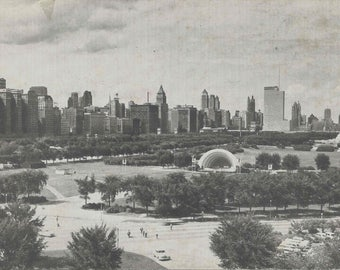 1940's Vintage Postcard With Stunning View of Grant Park and The Chicago Natural History Museum Formerly The Field Museum of Natural History