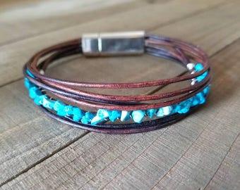 Turquoise leather bracelet - turquoise stone - boho leather wrap - turquoise jewelry - turquoise stone bracelet - boho turquoise bracelet