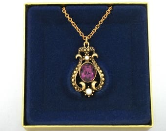 1974 Vintage AVON 'Queensbury' Amethyst Rhinestone Pendant Necklace w/ original box. Victorian Revival Avon Necklace. Vintage Avon Jewelry