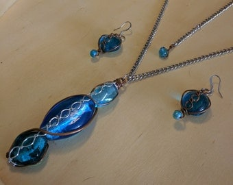 Blue Art Glass Wire Wrapped Helix Spiral Pendant Necklace & Earrings, Copper Wire Silver Chrome Adjustable Chain DNA Sine Wave Vortex Energy