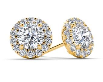 10Kt Yellow Gold 0.50 Ct Diamond Halo Stud Earrings