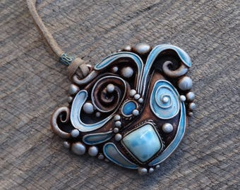 SHIPPING INCLUDED Larimar and Moonstone  Pendant Necklace