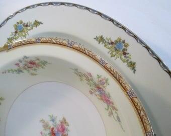 Vintage Mismatched China Serving Pieces, Oval Serving Platter, Round Vegetable Bowl - Set of 2