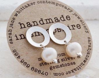 Silver Pearl Earrings - Silver Drop Studs - Frosted Silver Pearl Earrings - Bridal Pearl Earrings - Pearl Studs - Ivory Pearl Stud Earrings