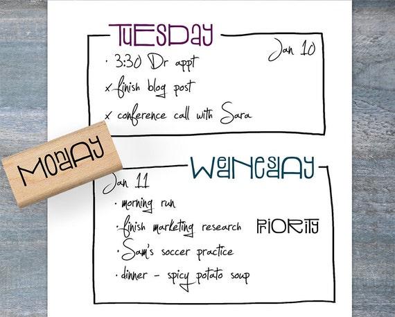 Calendar Stamp Bullet Journal : Weekday planner stamps bullet journal days of the