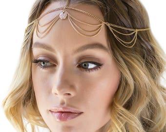 Festival Accessories, Gold Hair Chain, Gypsy Headpiece, Boho Headpiece, Bohemian Hair Chain, Coachella Jewelry, Festival Headpiece H501