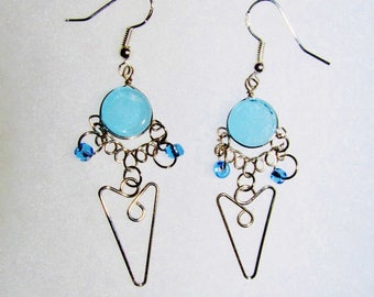 WIRE/ SHAPED/ EARRINGS/Sterling/Silver/ Blue/Glass/Bead/Hippie/Boho/Artsy/ Teen/Girl/Sister/Woman/Wife/Friend/ Birthday/Jewelry/Gift/For/Her