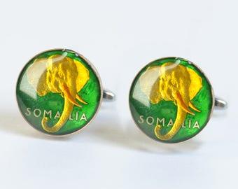 Cufflinks Somalia enamel Coin.Elephant cufflinks