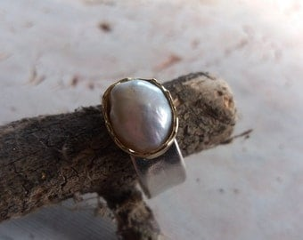 Silver And 14K Gold Ring