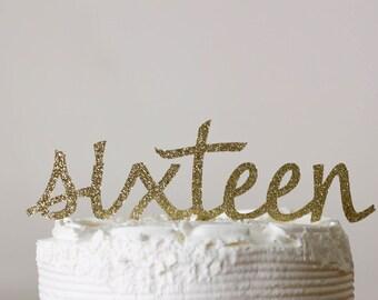 16th birthday cake topper - cake topper - birthday cake topper - glitter gold cake topper - sweet sixteen - 16th birthday decorations