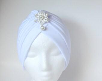 White Turban for Woman,Pearl Turban Brooch,Fashion Turban, Fashion Hijab, Cancer Hat, Hairloss Hat, Front Twist Turban, Front Twist Hat