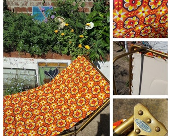Reserved: please pm if interested***Vintage retro sunlounger floral flower power 60s 70s deckchair