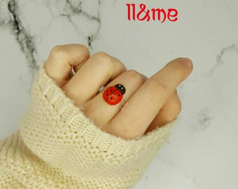 Wooden lady bug adjustable ring, forest, bugs, insect, spring, bohemian, gypsy, boho