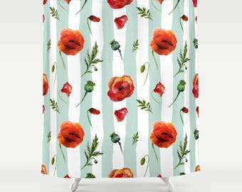 Poppy Shower Curtain, Poppies Shower, Poppy bathroom, Flowers Shower curtain, floral shower, green stripes, garden shower, poppies tub liner