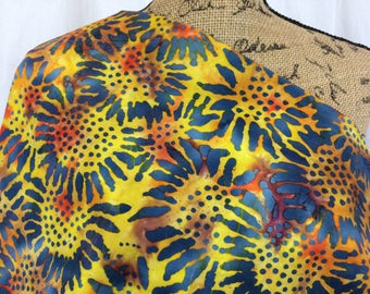 Sunflower Fabric--Batik Fabric--Hand Dyed Fabric--Tie Dye Fabric--Indonesian Batik--Yellow Orange Blue Batik--Batik Fabric by the HALF YARD