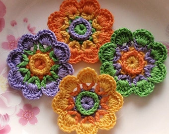 4 Crochet  Flowers In 2 inches  Applies YH - 230