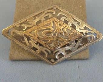 Vintage Sterling and Gold Brooch