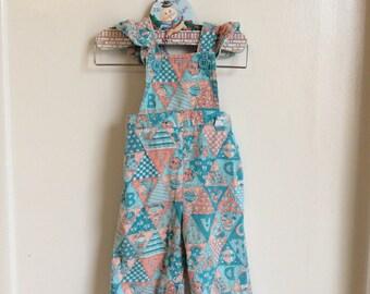 VTG Garanimal Baby Girl Corduroy Overalls Pants ABC Print Sz 3-6M