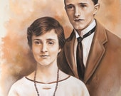 Double Pastel portrait from a very old picture
