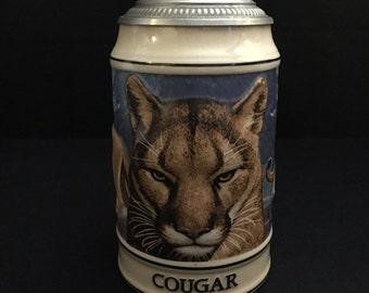 Vintage 1994 Anheuser Busch Budweiser Stein Endangered Species Stein Cougar 13514    (LDT6)