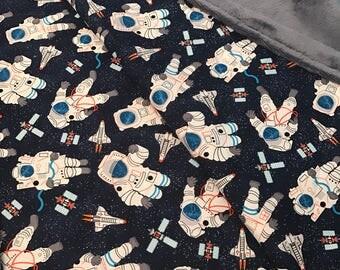 Astronauts on Carbon Mar Bella Minky Baby Blanket 1-1/4 yards