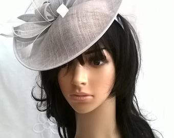 Silver Feather Fascinator..Stunning Sinamay Fascinator on a Headband..