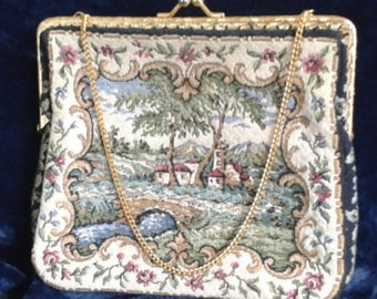 Vintage Tapestry Clasp Evening Purse With Pastoral Scene