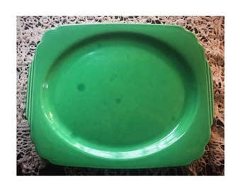 "Antique Homer Laughlin Large Oval Serving Platter 13"" Green -Riviera Pattern-"