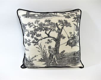 Black and Cream Toile pillow cover 18 x18