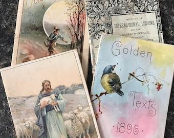 4 miniature victorian religious books