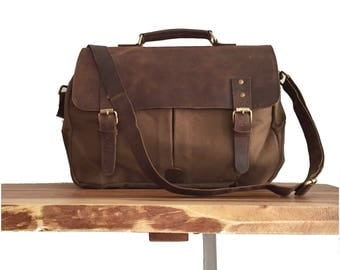 MESSENGER BAG, 16 x 12 inch, CROSSBODY Bag, Leather bag, leather briefcase, satchel, leather canvas Messenger bag, crossbody Leather Satchel