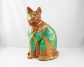 "A Papier Mache Cat in Rich Brown and Green - Cat in the Weeds - Marked Paper Mache - 14"" Tall Cat - Floor Cat - Glossy Surface - Fun Cat"