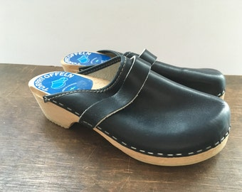Leather wooden clogs EU32 Black clogs Kids clogs Children clogs Scandinavian clogs