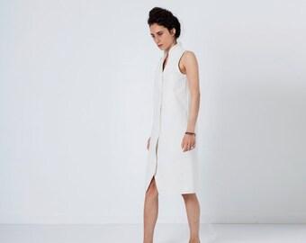 SALE - White Dress, Elegant White Dress, White Midi Dress, Tunic Dress, White Cotton Dress, Button Down Dress, Sleeveless Dress, Preppy D...