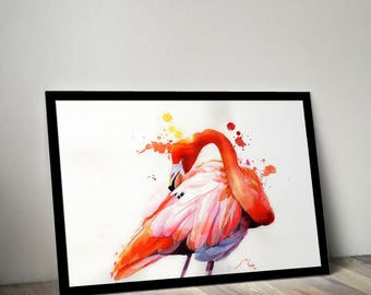 Flamingo Watercolour Print / Limited Edition Giclee
