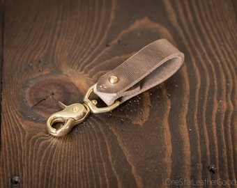 Key belt lanyard / keychain Horween Chromexcel leather - swivel, natural CXL / brass