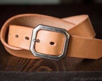 "Custom sized belt - 1.25"" width - THICK 12 oz. tan harness leather - center bar buckle"